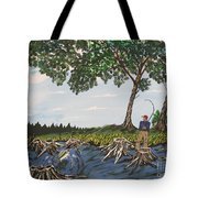 Bass Fishing In The Stumps Tote Bag