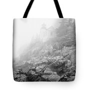 Bass Harbor Head Light In Fog Tote Bag