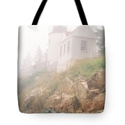 Bass Harbor In Fog - Vertical Tote Bag