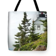Bass Harbor Light Station Overlooking The Bay Tote Bag