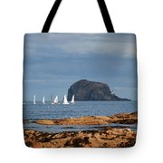 Bass Rock And Sail Boats Tote Bag