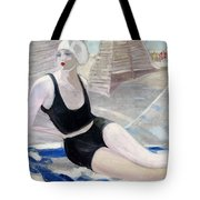 Bather In A Black Swimsuit Tote Bag