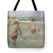 Bathing Boys With Crab Fisherman Tote Bag
