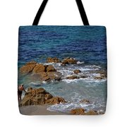 Bathing In The Sea - La Coruna Tote Bag by Mary Machare