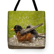 Bathing Robin Tote Bag
