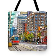 Bathurst Street Car Coming North To Queen Street Tote Bag