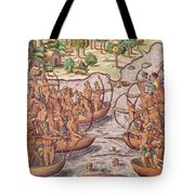 Battle Between Indian Tribes Tote Bag