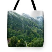 Bavarian Mountain Slope With Mist Tote Bag
