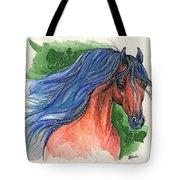 Bay Arabian Horse With Blue Mane 30 10 2013 Tote Bag