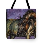 Bay Horse On The Purple Background Tote Bag