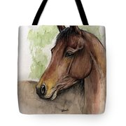 Bay Horse Portrait Watercolor Painting 02 2013 A Tote Bag