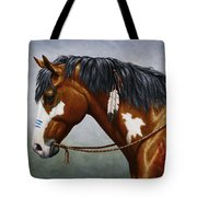 Bay Native American War Horse Tote Bag