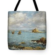 Bay Of Douarnenez Tote Bag by Eugene Louis Boudin