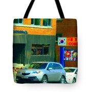 Bbq Coreen Korean Resto Cavendish St Jacques Montreal Summer Cafe City Scene Carole Spandau Tote Bag