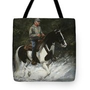Big Creek Man On Spotted Horse Tote Bag