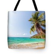 Beach And Palm Tree Tote Bag
