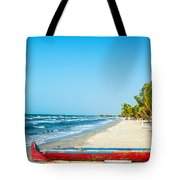 Beach And Red Canoe Tote Bag