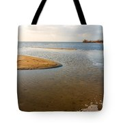 Beach And Rippled Water At The Wadden Sea. Tote Bag