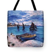 Beach At Sainte Adresse Monet Tote Bag
