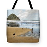 Beach Birds Impasto Tote Bag