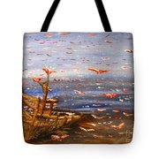 Beach Boat And Birds Tote Bag