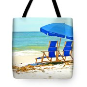 Beach Chairs And Umbrella Tote Bag