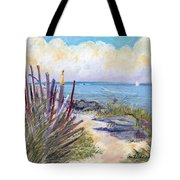 Beach Fence With Ferry Tote Bag