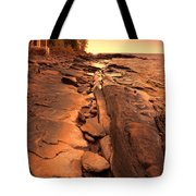 Beach House On Rocky Shore Tote Bag