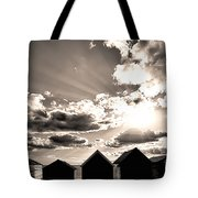 Beach Huts In Black And White Tote Bag