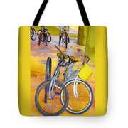 Beach Parking For Bikes Tote Bag