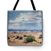 Beach Scene On Galveston Island Tote Bag