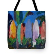 Beach Scene With Wall Of Surf Boards Hawaii I Tote Bag