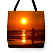 Beach Sculpture At Crosby Liverpool Uk Tote Bag