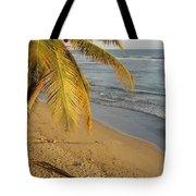 Beach Under Golden Palm Tote Bag