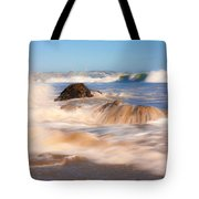 Beach Waves Smoothly Flowing Over The Rocks Fine Art Photography Print Tote Bag