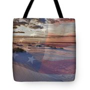 Beach With Flag Tote Bag