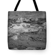 Beach With Ice Formations Tote Bag