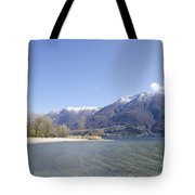 Beach With Mountain Tote Bag