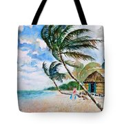 Beach With Palm Trees Tote Bag