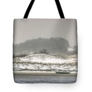 Beached Boat Winter Storm Tote Bag