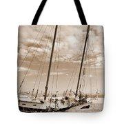 Beached Schooner Tote Bag
