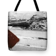 Beachside Warning Horizontal Bw With Colorized Red Sign Tote Bag