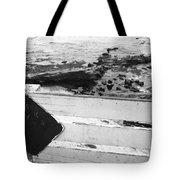 Beachside Warning Horizontal Grayscale Tote Bag