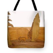 Bear Between Two Trees Tote Bag