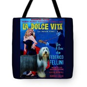 Bearded Collie Art Canvas Print - La Dolce Vita Movie Poster Tote Bag