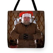 Bearded Man With Christmas Hat Tote Bag