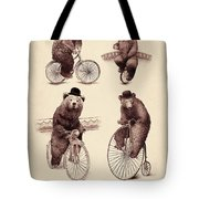 Bears On Bicycles Tote Bag