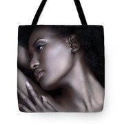 Beautiful Black Woman Face With Shiny Silver Skin Tote Bag