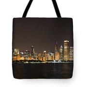 Beautiful Chicago Skyline With Fireworks Tote Bag by Adam Romanowicz