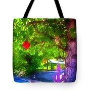 Beautiful Colored Glass Ball Hanging On Tree 1 Tote Bag